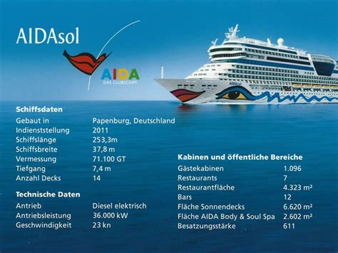 technische daten der aida prima mit aidasol in den norwegischen fjorden aida weblounge