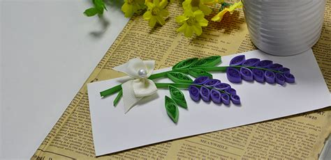 How To Make A Greeting Card By Paper Quilling - how to make a lavender greeting card with quilling paper
