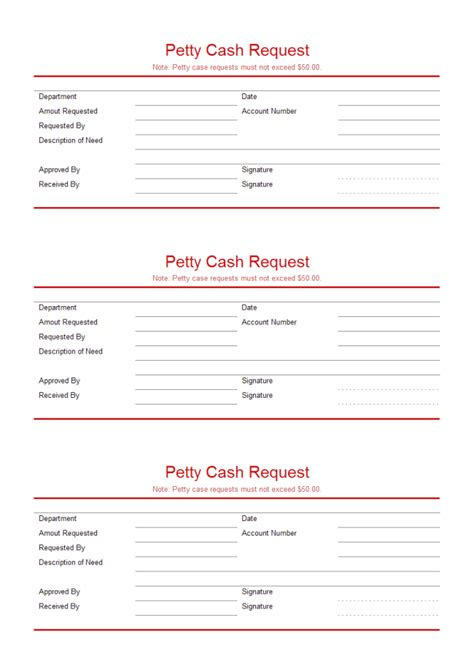 petty cash request free petty cash request templates