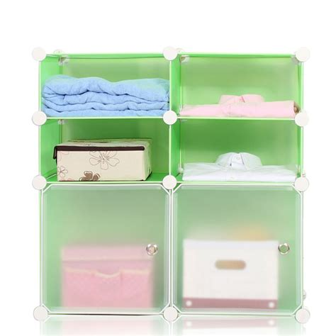 Green Color Pp Plastic Stacking Cube Storage Cabinet For Plastic Bathroom Storage