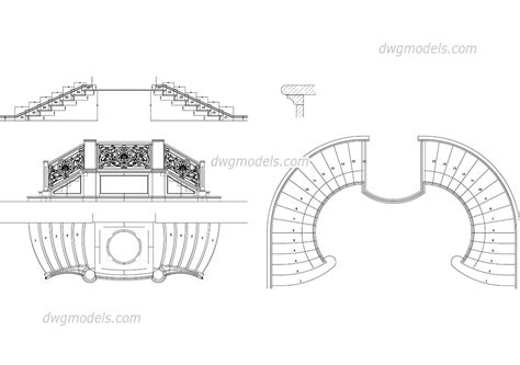 staircase section dwg file baroque staircase dwg free cad blocks download
