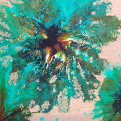 painting in progress contemporary turquoise and teal