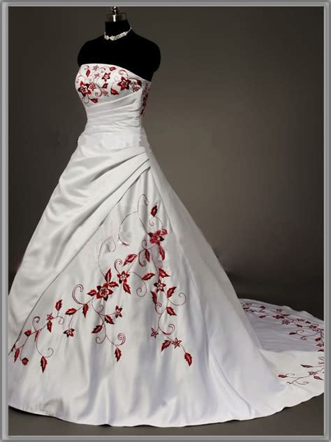 brautkleider rot strapless and white wedding dress sang maestro