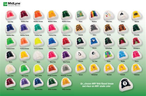 retainer colors retainers color sheet midlyne orthodontic laboratory