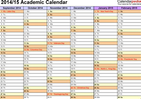 academic calendars 2014 2015 as free printable excel templates