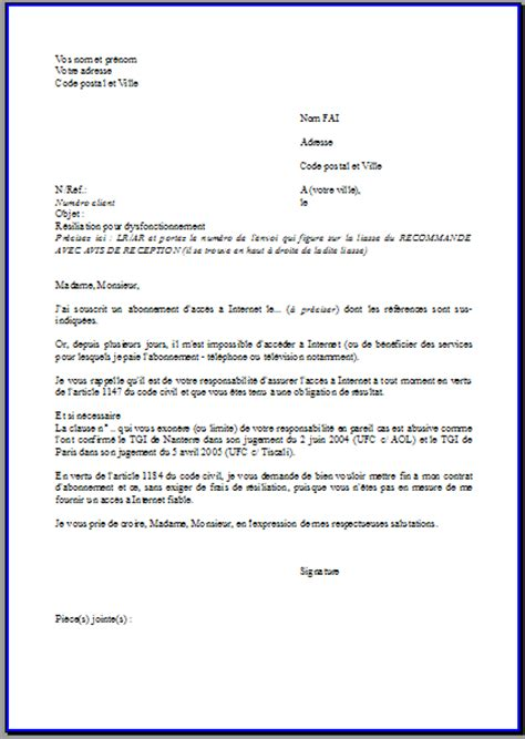 Modele De Lettre Resiliation Free Box Modele Lettre Resiliation Box Document