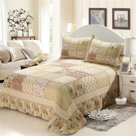Quilted Bedspreads King Size Bed by 3 Pieces Pastoral Style Floral Printed Quilted Cotton