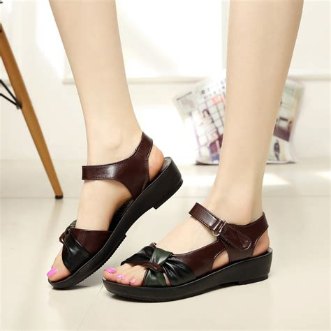 comfortable dress shoes for older women 2017 summer shoes flat sandals women aged leather flat