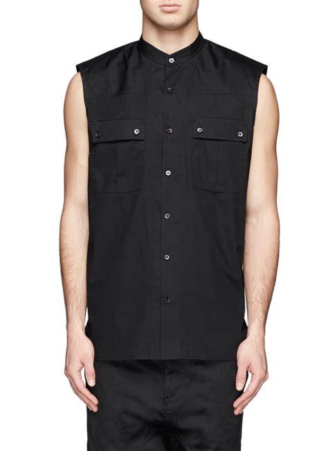 Black Sleeveless Shirt lyst helmut lang sleeveless collar shirt in black for