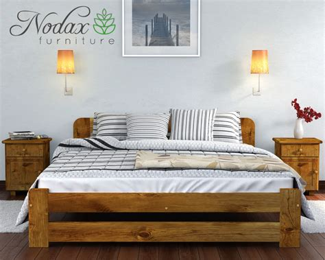 King Size Bed Frame Wooden Nodax Pine King Size Bed 5ft Wooden Bedframe Headboard Footboard Slatted Base Ebay