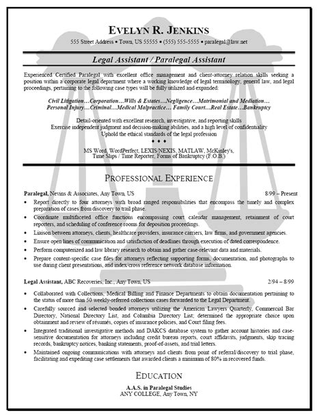 Examples Of Paralegal Resumes Legal Paralegal Office Assistant Resume Sample