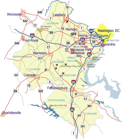 northern virginia map where is lake