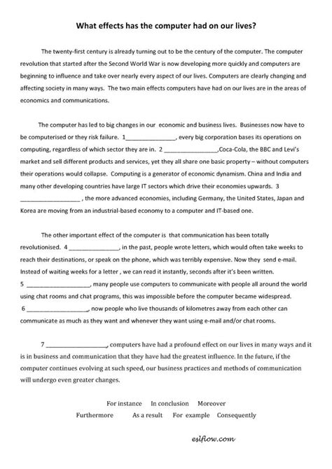 Using Transitions In An Essay by Cause Effect Essay Transitions Worksheet For Writing Students