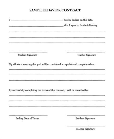 11 Behavior Contract Sles Sle Templates Behavior Contract Template