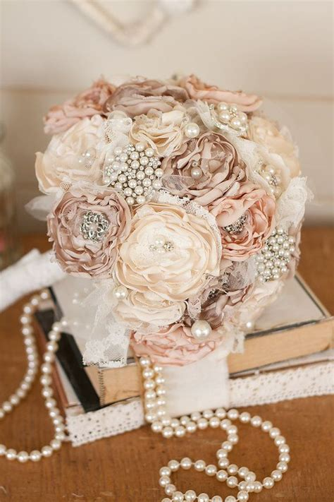 shabby chic style floral bouquet vintage inspired fabric wedding bouquet satin and lace and brooch bridal bouquet shabby chic