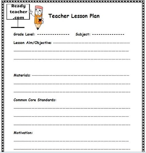 lesson plan template for teachers lesson plan templates images