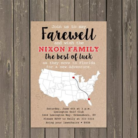 Moving Away Card Templates by Going Away Invitation Farewell Invite Moving