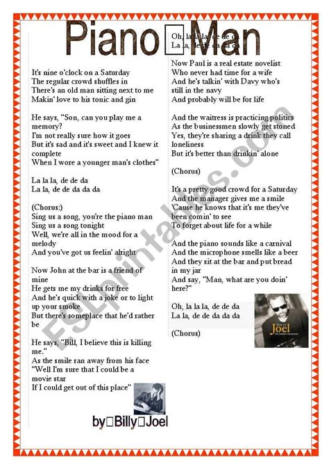 english worksheets piano man billy joel lyrics