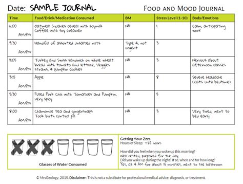 printable food mood journal start the year off right food and mood journal