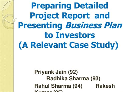 business plan project report format preparing detailed project report and presenting business