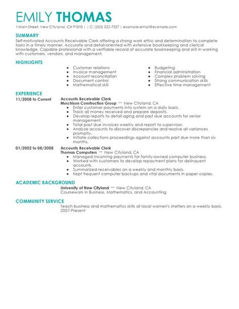 Accounts Receivable Resume by Best Accounts Receivable Clerk Resume Exle Livecareer
