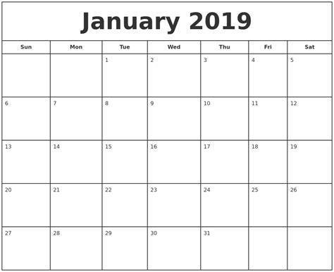 January 2019 Calendar Printable March 2019 Calendar Maker