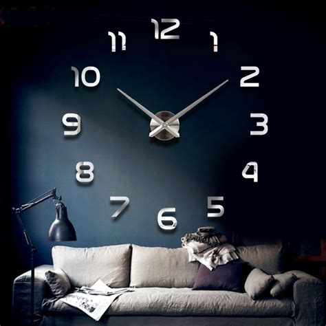 Jam Dinding Modern 3d Frameless Large Wall Clock Diy Dekorasi Dinding dekorasi rumah jumlah besar cermin jam dinding desain