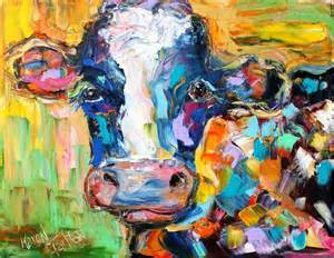 colorful cow painting tarlton original painting colorful cow and