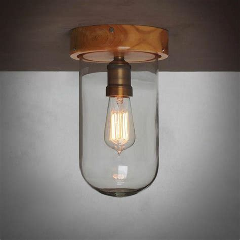 clear glass cloche ceiling light with wooden base tudo