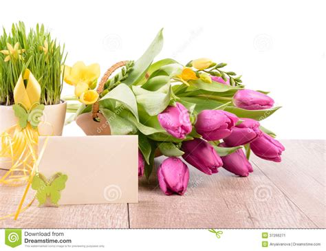 template for flower arrangement card flowers and an empty greeting card stock image