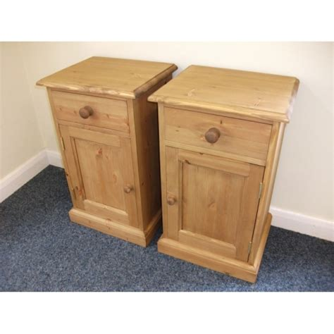 White And Pine Bedside Table Pair Of Pine Bedside Cabinets