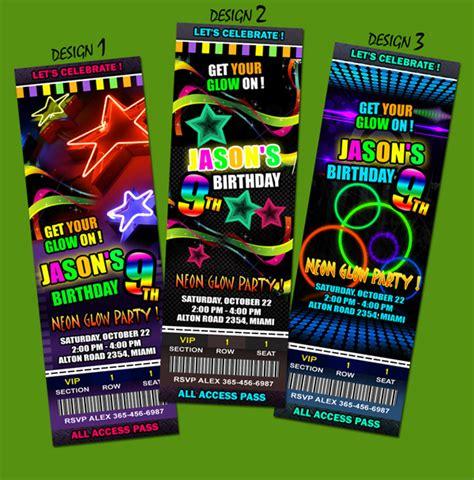 Neon Glow Birthday Party Invitation Ticket Card Invite Mustache Laser Tag Prom Ebay Neon Invitations Templates Free