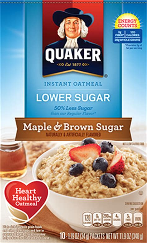 whole grain quaker oats nutrition facts product cereals quaker lower sugar instant oatmeal