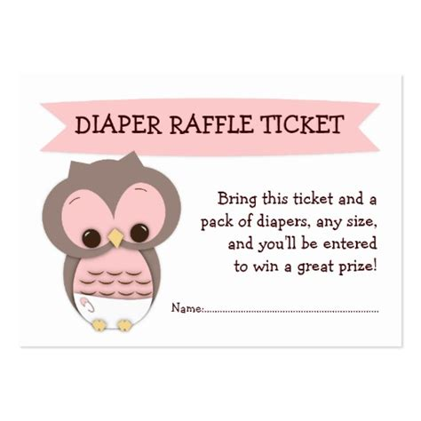 pink owl baby shower diaper raffle ticket insert business
