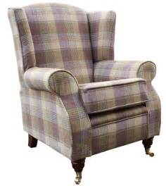 High Back Winged Leather Armchairs Arnold Wool Tweed Wing Chair Fireside High Back Armchair