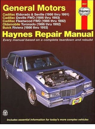online repair manual for a 1993 buick riviera eldorado seville deville fleetwood toronado riviera repair manual 1986 1993