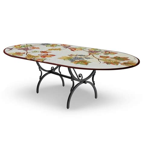 tavolo in ferro battuto tavolo ovale decoro foglie base in ferro battuto