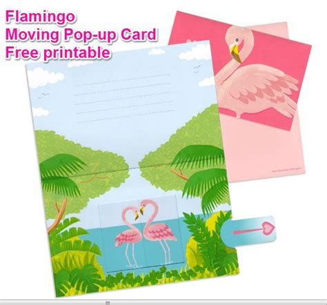 pattern pop up heart flamingo moving pop up card free printable pattern and