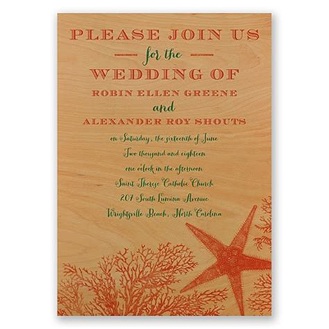 coral reef wedding invitations coral reef real wood invitation