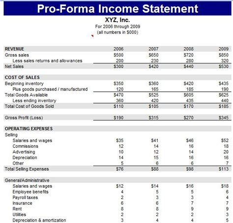 pro forma financial statement template excel sheet
