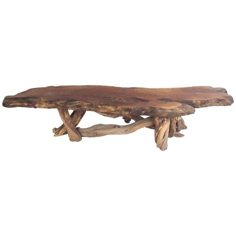 Tree Slab Coffee Table Vintage Rustic Freeform Tree Slab Coffee Table At 1stdibs