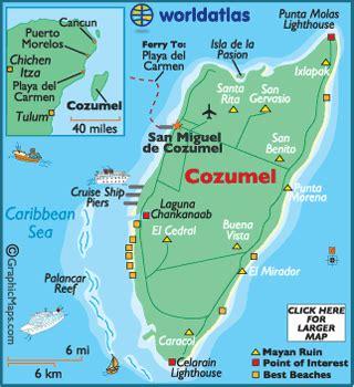 cozumel map / geography of cozumel / map of cozumel
