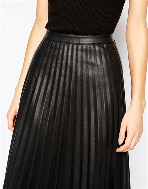 urbancode faux leather pleat maxi skirt in black lyst