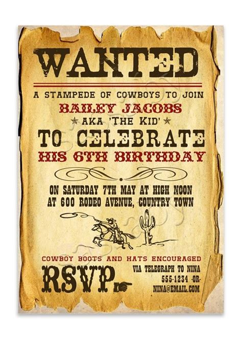 16 Best Images About Frontier On Pinterest Legends Cowboy Party Decorations And Barbed Wire West Invitation Template