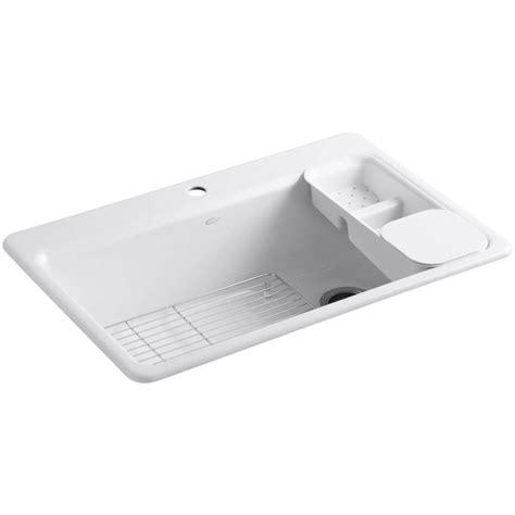 kohler sink accessories home depot kohler riverby drop in cast iron 33 in 1 hole single bowl