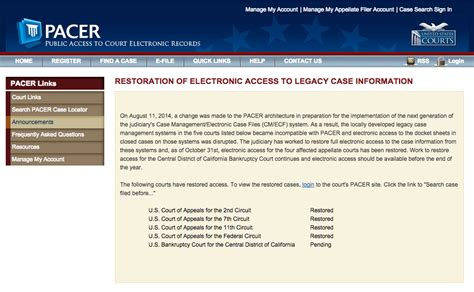 Pacer Federal Court Search Administrative Office Of The Courts Aoc Returns Most Documents Removed From Pacer