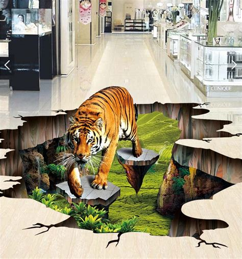 Sticker Wallpaper Dinding Hi Cat custom photo 3d flooring mural self adhesion wall sticker 3 d tiger outdoors to draw painting 3d