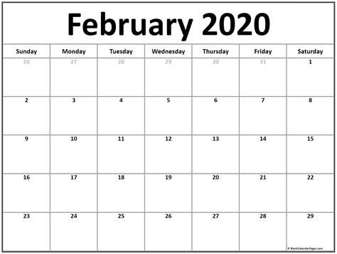 february  calendar  printable monthly calendars