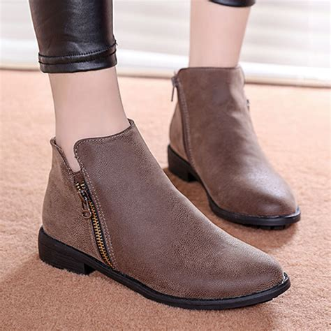ladies ankle motorcycle boots womens leather ankle boots flat yu boots