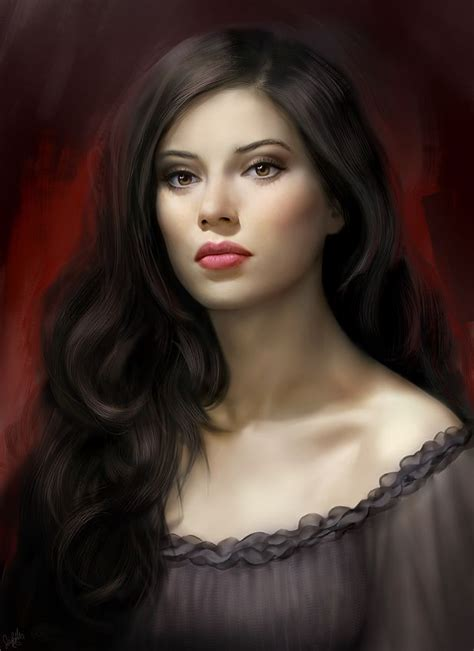 Women With Dark Hair Pics | pale woman with long dark hair red lips wearing a dark
